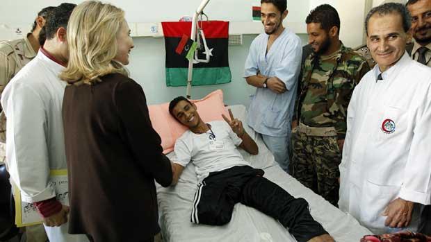 Hillary at Hospital in Tripoli