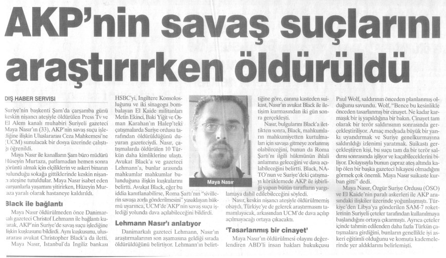 Newspaper report - Maya Nasır