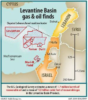 Israel discovered huge gas in Levantine Basin with Noble Energy. Source: Noble Energy map