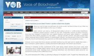 "A screenshot of ""Voice of Balochistan's"" special US State Department message. While VOB fails to disclose its funding, it is a sure bet it, like other US-funded propaganda fronts, is nothing more than a US State Department outlet."