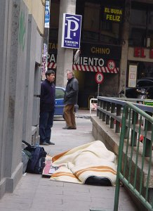Homeless sleeping in the streets, Spain, Photo by Criatura